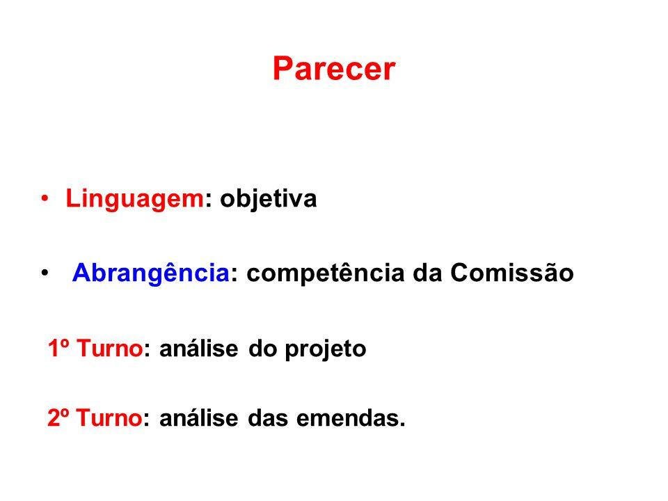 Parecer Linguagem: objetiva Abrangência: competência da Comissão 1º Turno: análise do projeto 2º Turno: análise das emendas.