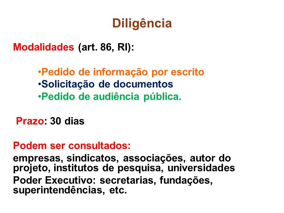 Diligência Modalidades (art. 86, RI): Pedido de informação por escrito Solicitação de documentos Pedido de audiência pública. Prazo: 30 dias Podem ser