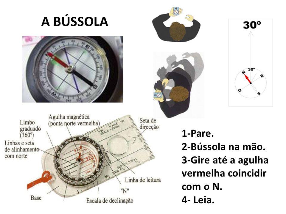 A BÚSSOLA 1-Pare. 2-Bússola na mão. 3-Gire até a agulha vermelha coincidir com o N. 4- Leia.