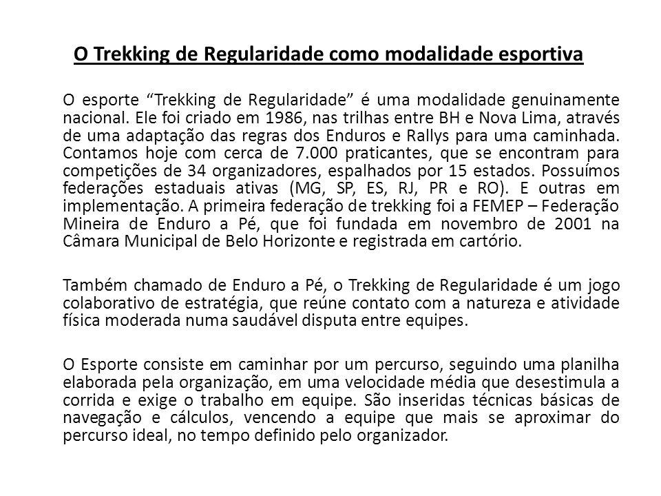 O Trekking de Regularidade como modalidade esportiva O esporte Trekking de Regularidade é uma modalidade genuinamente nacional. Ele foi criado em 1986