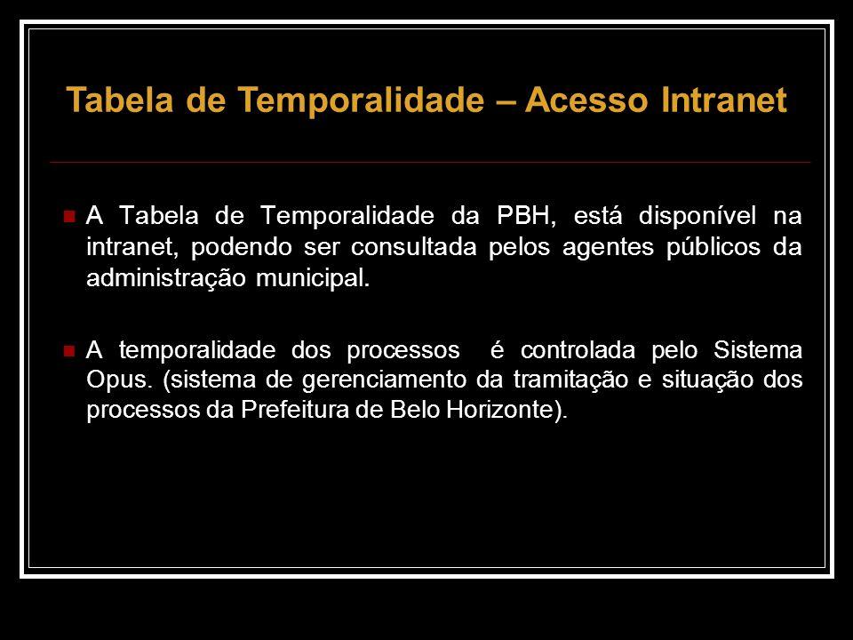 A Tabela de Temporalidade da PBH, está disponível na intranet, podendo ser consultada pelos agentes públicos da administração municipal.