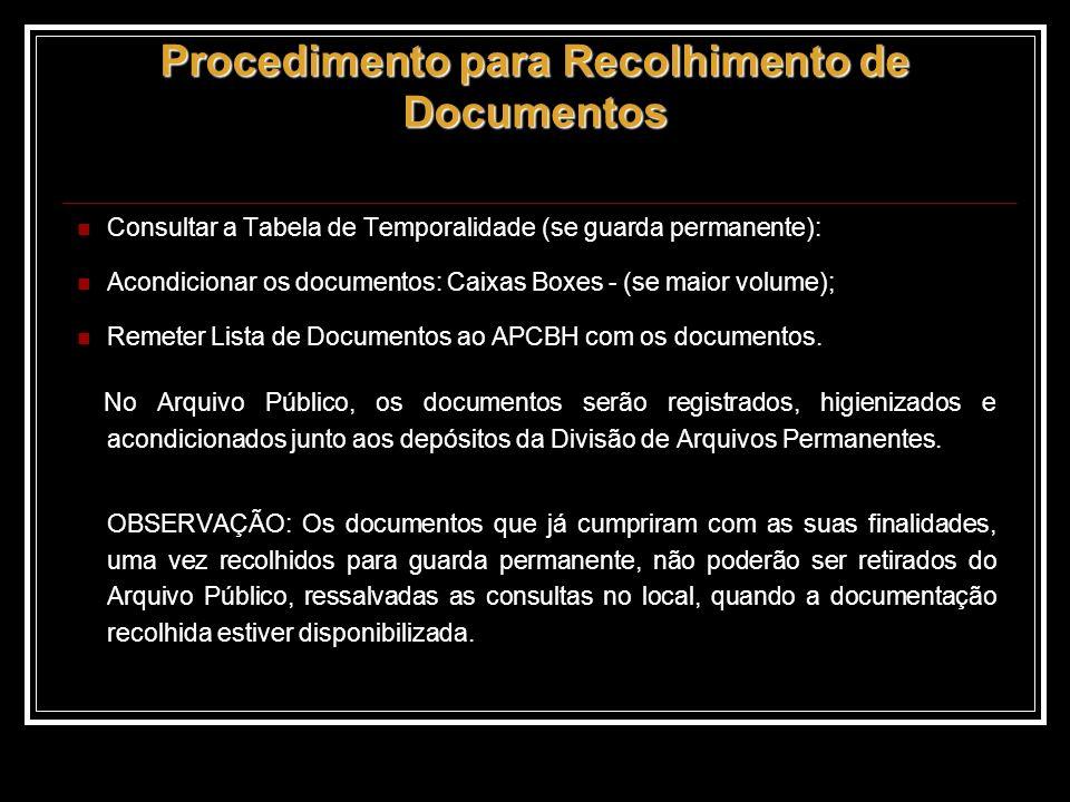 Consultar a Tabela de Temporalidade (se guarda permanente): Acondicionar os documentos: Caixas Boxes - (se maior volume); Remeter Lista de Documentos ao APCBH com os documentos.
