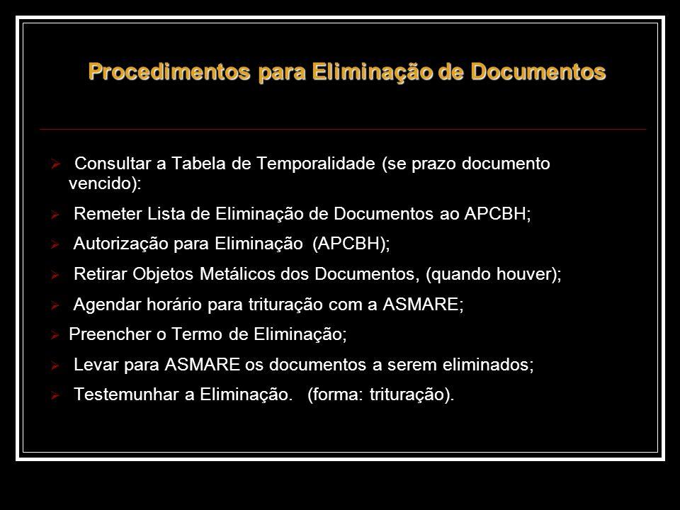 Consultar a Tabela de Temporalidade (se prazo documento vencido): Remeter Lista de Eliminação de Documentos ao APCBH; Autorização para Eliminação (APCBH); Retirar Objetos Metálicos dos Documentos, (quando houver); Agendar horário para trituração com a ASMARE; Preencher o Termo de Eliminação; Levar para ASMARE os documentos a serem eliminados; Testemunhar a Eliminação.