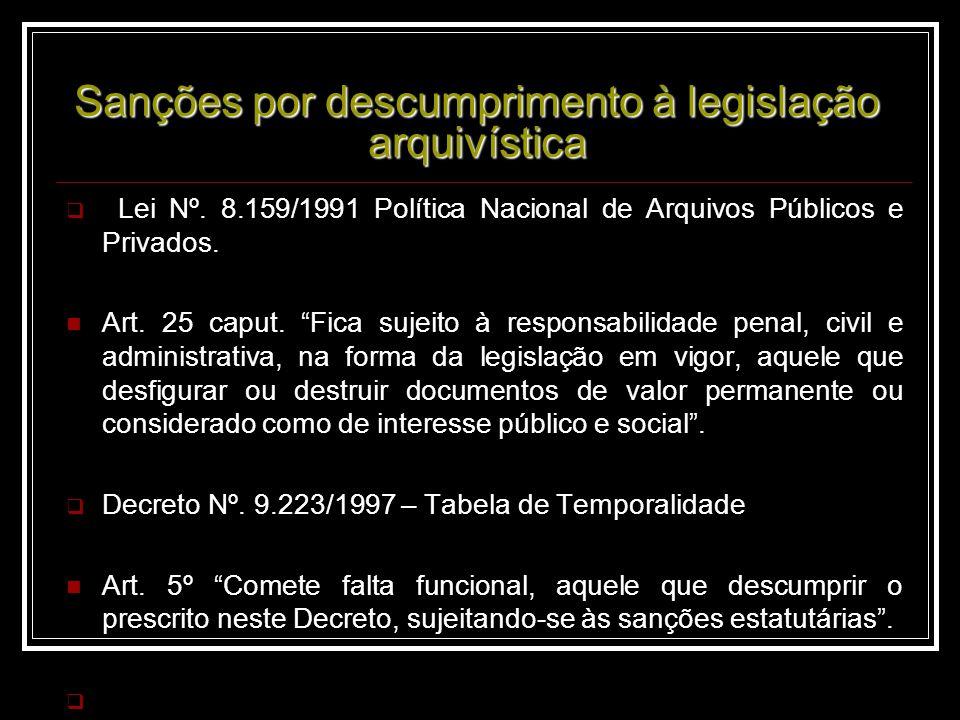 Sanções por descumprimento à legislação arquivística Lei Nº.