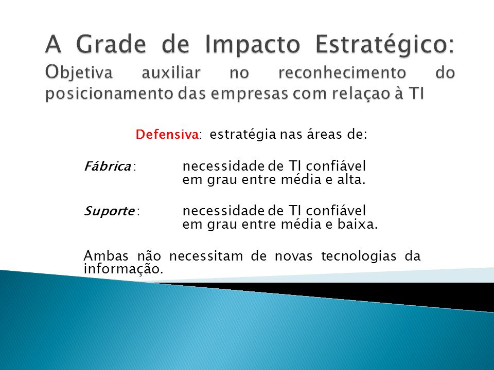 Defensiva: estratégia nas áreas de: Fábrica : necessidade de TI confiável em grau entre média e alta. Suporte : necessidade de TI confiável em grau en
