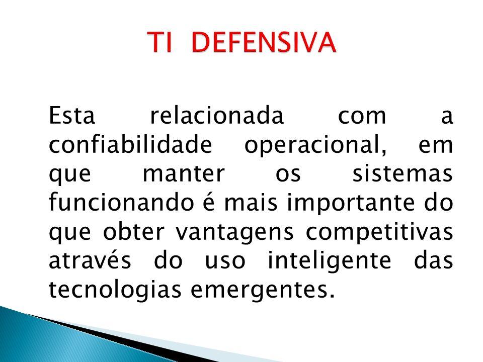 Esta relacionada com a confiabilidade operacional, em que manter os sistemas funcionando é mais importante do que obter vantagens competitivas através