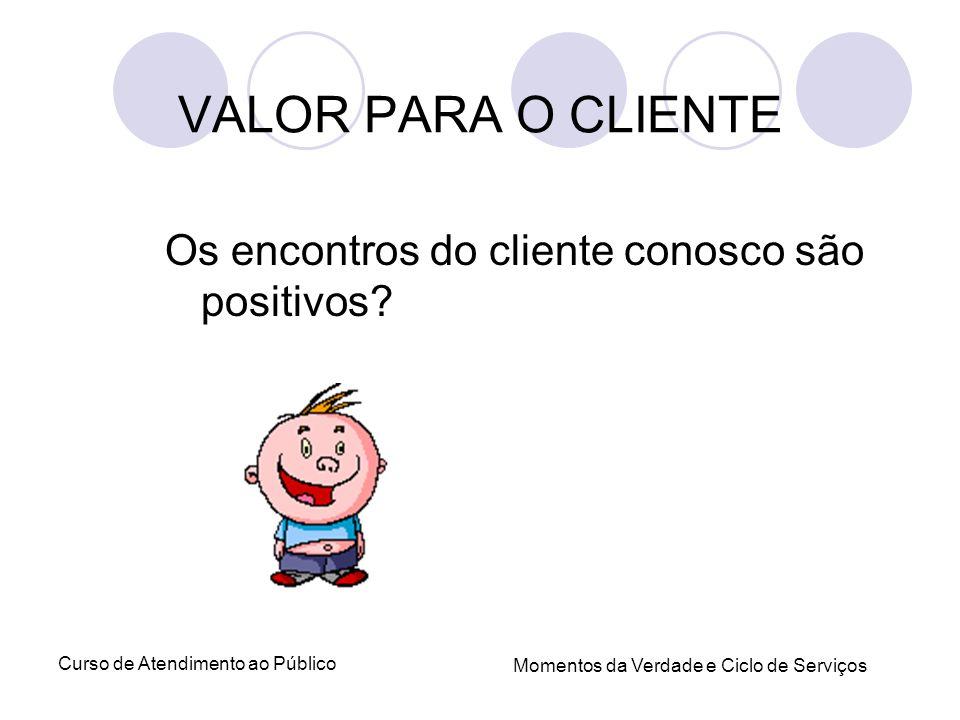 Curso de Atendimento ao Público Momentos da Verdade e Ciclo de Serviços Os encontros do cliente conosco são positivos? VALOR PARA O CLIENTE