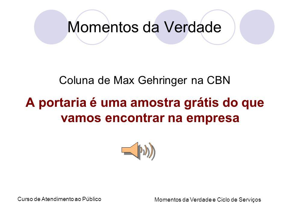 Curso de Atendimento ao Público Momentos da Verdade e Ciclo de Serviços Momentos da Verdade Coluna de Max Gehringer na CBN A portaria é uma amostra gr