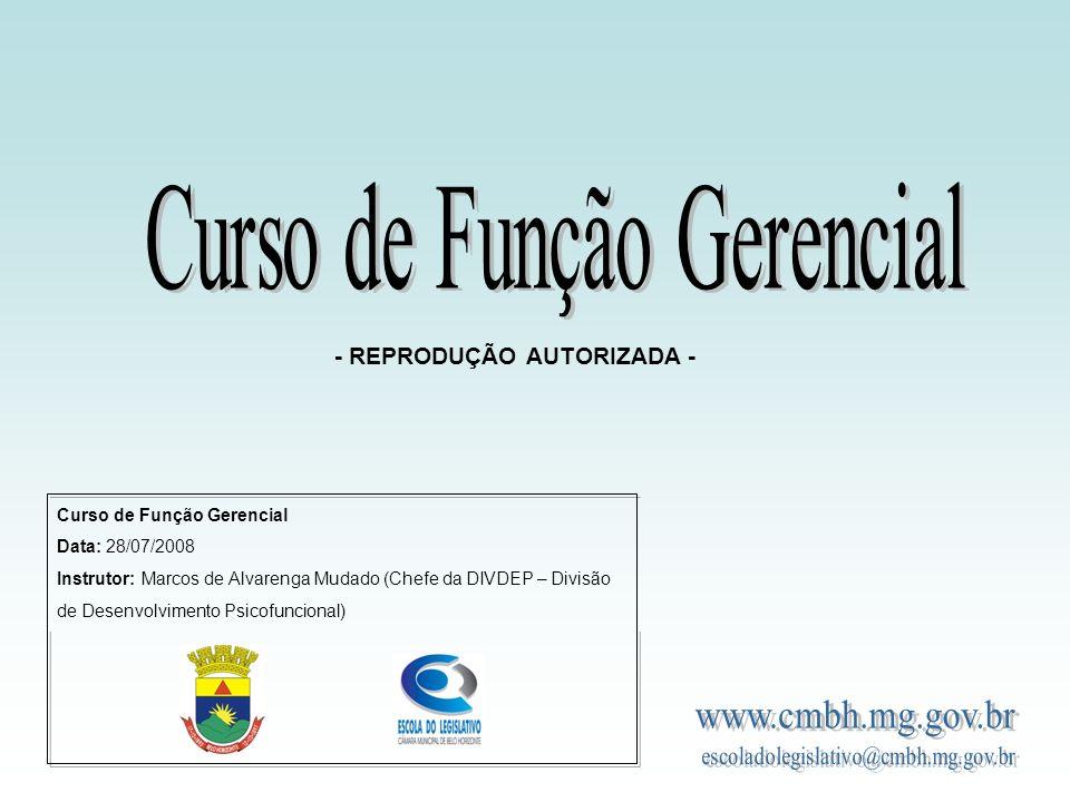 Curso de Função Gerencial Data: 28/07/2008 Instrutor: Marcos de Alvarenga Mudado (Chefe da DIVDEP – Divisão de Desenvolvimento Psicofuncional) - REPRO