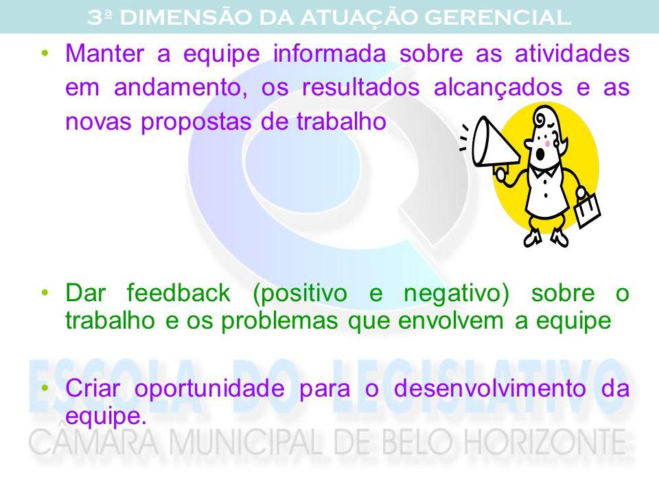 Manter a equipe informada sobre as atividades em andamento, os resultados alcançados e as novas propostas de trabalho Dar feedback (positivo e negativ