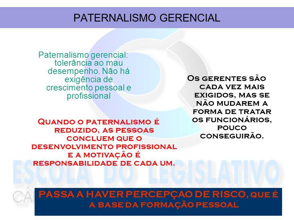 PATERNALISMO GERENCIAL Paternalismo gerencial: tolerância ao mau desempenho. Não há exigência de crescimento pessoal e profissional Os gerentes são ca