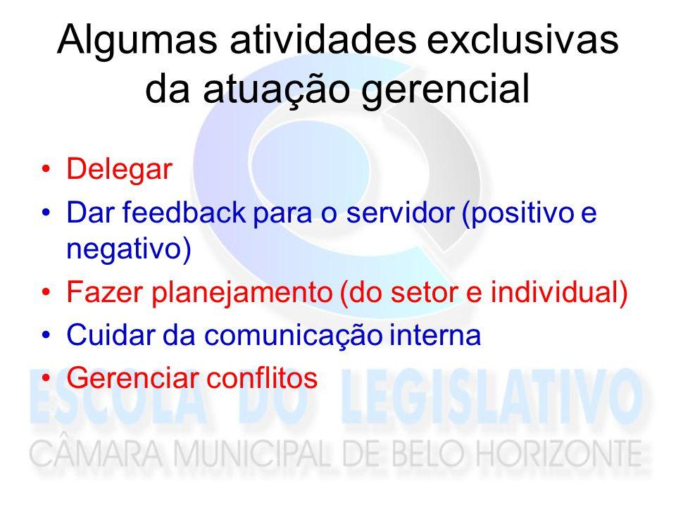 Algumas atividades exclusivas da atuação gerencial Delegar Dar feedback para o servidor (positivo e negativo) Fazer planejamento (do setor e individua