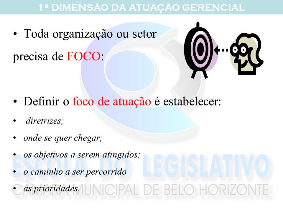Toda organização ou setor precisa de FOCO: Definir o foco de atuação é estabelecer: diretrizes; onde se quer chegar; os objetivos a serem atingidos; o