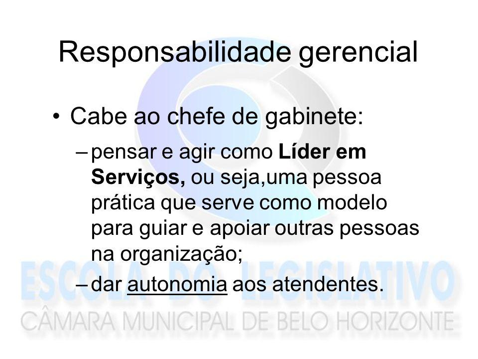Responsabilidade gerencial Cabe ao chefe de gabinete: –pensar e agir como Líder em Serviços, ou seja,uma pessoa prática que serve como modelo para gui