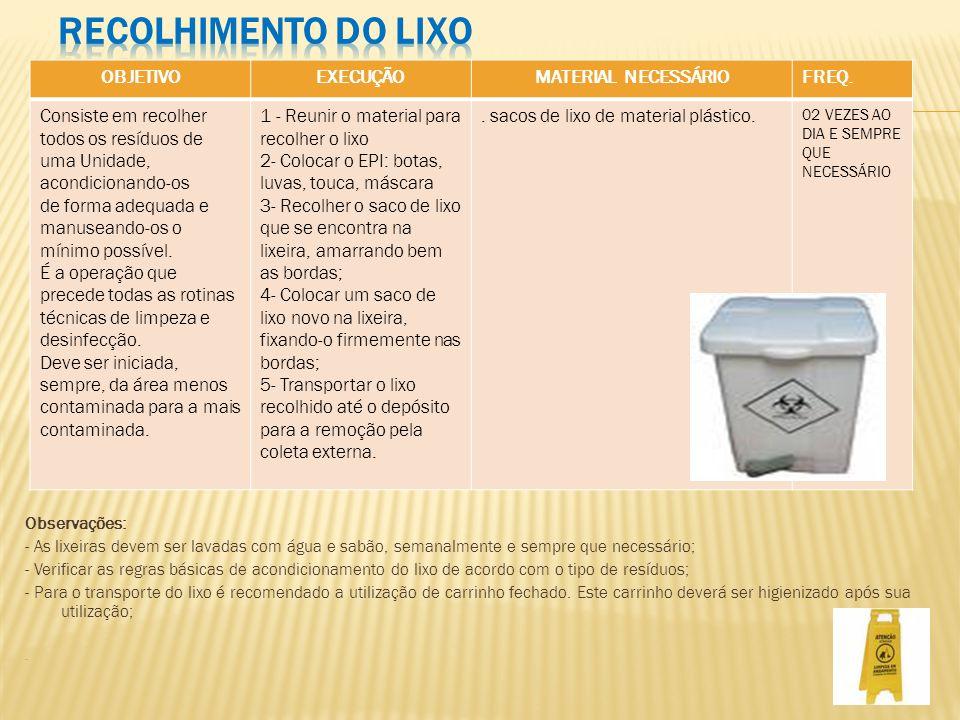 Observações: - As lixeiras devem ser lavadas com água e sabão, semanalmente e sempre que necessário; - Verificar as regras básicas de acondicionamento