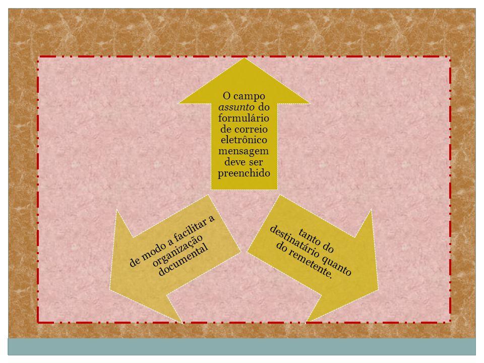 Para os arquivos anexados à mensagem deve ser utilizado, preferencialmente, o formato Rich Text.