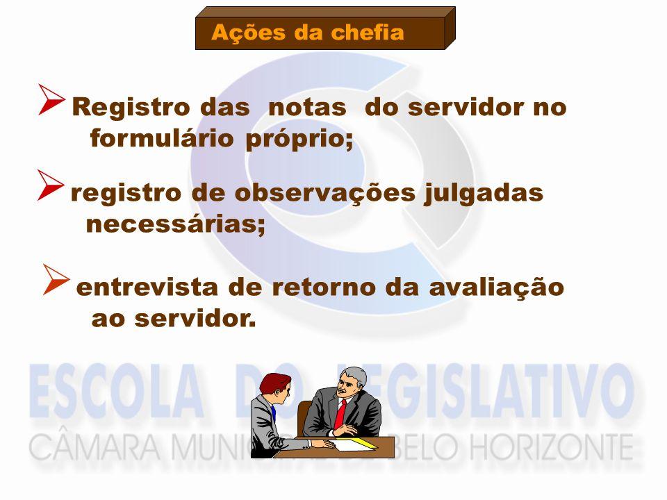 Ações da chefia Registro das notas do servidor no formulário próprio; registro de observações julgadas necessárias; entrevista de retorno da avaliação