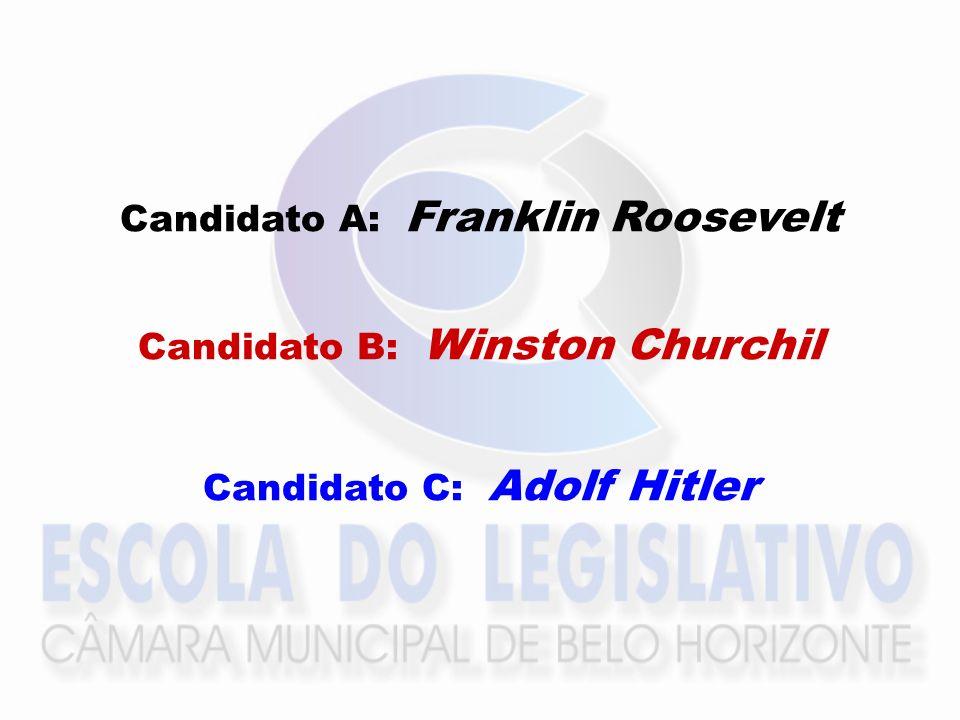 Candidato A: Franklin Roosevelt Candidato B: Winston Churchil Candidato C: Adolf Hitler