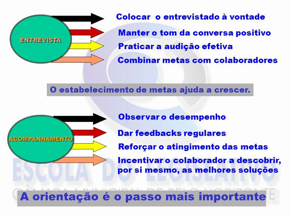 ENTREVISTA Colocar o entrevistado à vontade Manter o tom da conversa positivo Praticar a audição efetiva Combinar metas com colaboradores O estabeleci
