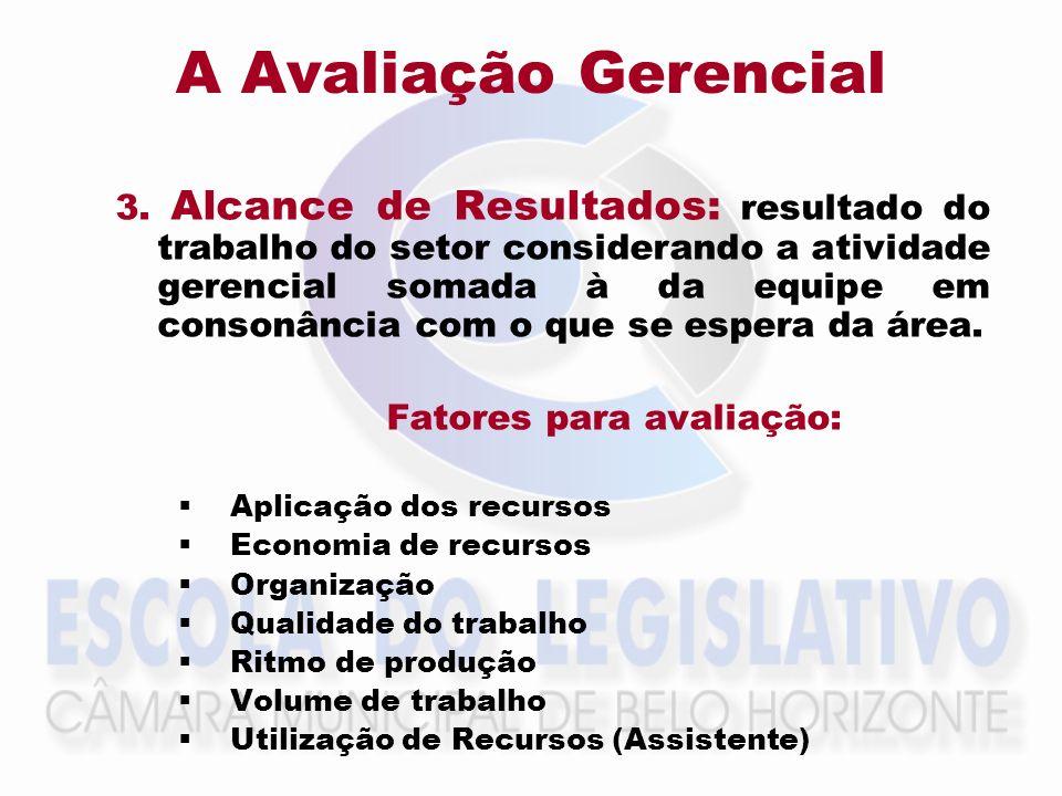 A Avaliação Gerencial 3. Alcance de Resultados: resultado do trabalho do setor considerando a atividade gerencial somada à da equipe em consonância co