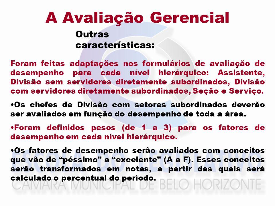 A Avaliação Gerencial Foram feitas adaptações nos formulários de avaliação de desempenho para cada nível hierárquico: Assistente, Divisão sem servidor