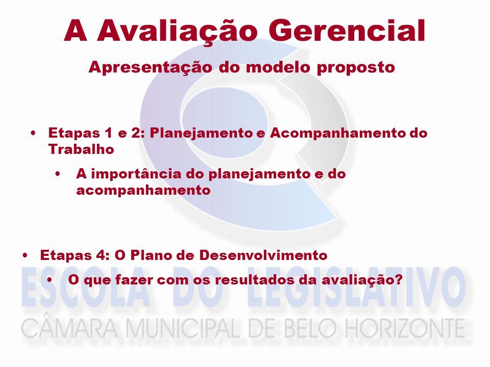 A Avaliação Gerencial Apresentação do modelo proposto Etapas 1 e 2: Planejamento e Acompanhamento do Trabalho A importância do planejamento e do acomp
