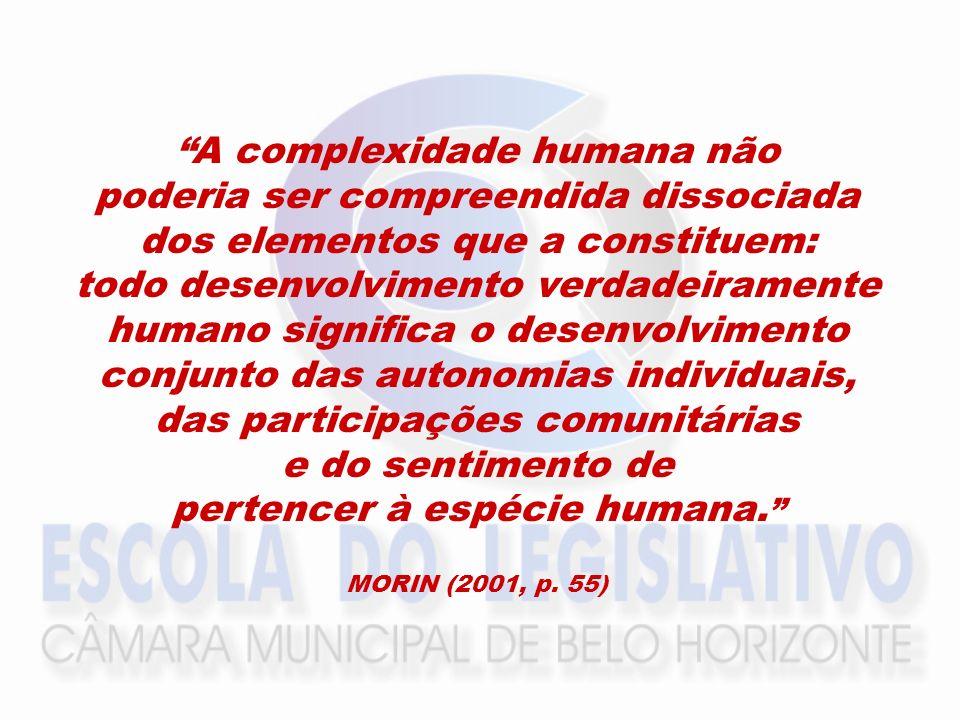A complexidade humana não poderia ser compreendida dissociada dos elementos que a constituem: todo desenvolvimento verdadeiramente humano significa o