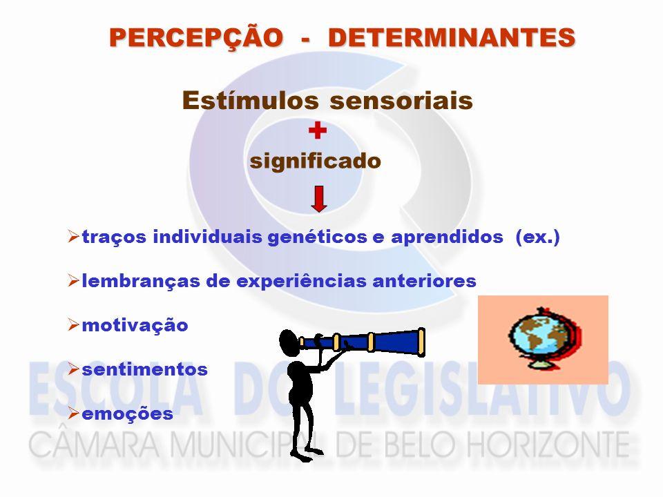 PERCEPÇÃO - DETERMINANTES Estímulos sensoriais traços individuais genéticos e aprendidos (ex.) lembranças de experiências anteriores motivação sentime