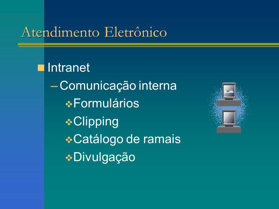 Intranet –Comunicação interna Formulários Clipping Catálogo de ramais Divulgação Atendimento Eletrônico