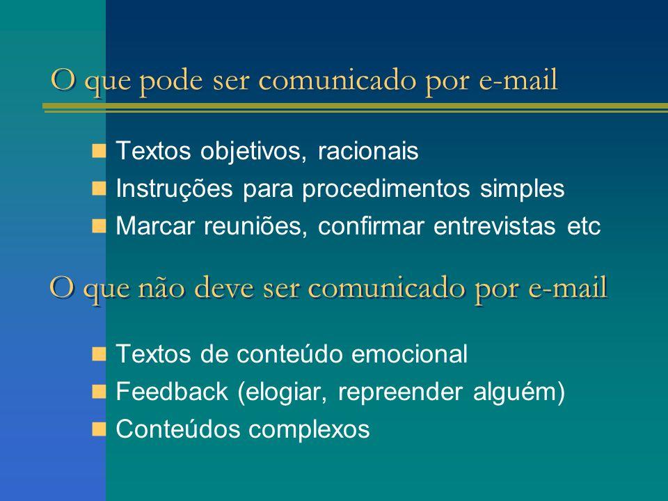 O que pode ser comunicado por e-mail Textos objetivos, racionais Instruções para procedimentos simples Marcar reuniões, confirmar entrevistas etc Text