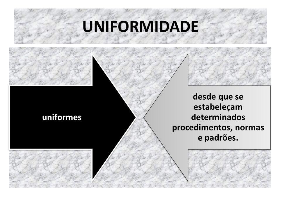 UNIFORMIDADE uniformes desde que se estabeleçam determinados procedimentos, normas e padrões.