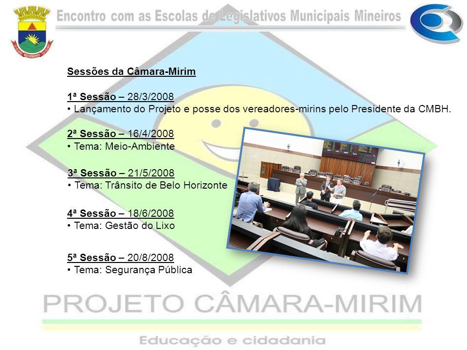 Sessões da Câmara-Mirim 1ª Sessão – 28/3/2008 Lançamento do Projeto e posse dos vereadores-mirins pelo Presidente da CMBH. 2ª Sessão – 16/4/2008 Tema: