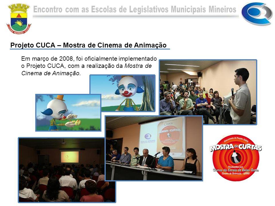 Em março de 2008, foi oficialmente implementado o Projeto CUCA, com a realização da Mostra de Cinema de Animação. Projeto CUCA – Mostra de Cinema de A