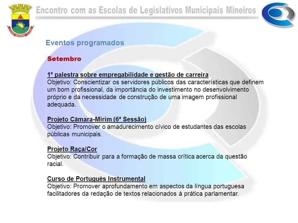 Eventos programados Setembro 1º palestra sobre empregabilidade e gestão de carreira Objetivo: Conscientizar os servidores públicos das características