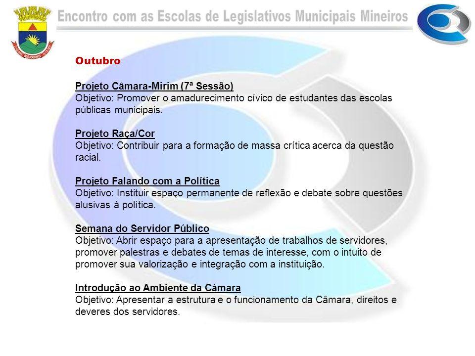 Outubro Projeto Câmara-Mirim (7ª Sessão) Objetivo: Promover o amadurecimento cívico de estudantes das escolas públicas municipais. Projeto Raça/Cor Ob
