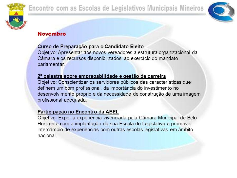 Novembro Curso de Preparação para o Candidato Eleito Objetivo: Apresentar aos novos vereadores a estrutura organizacional da Câmara e os recursos disp