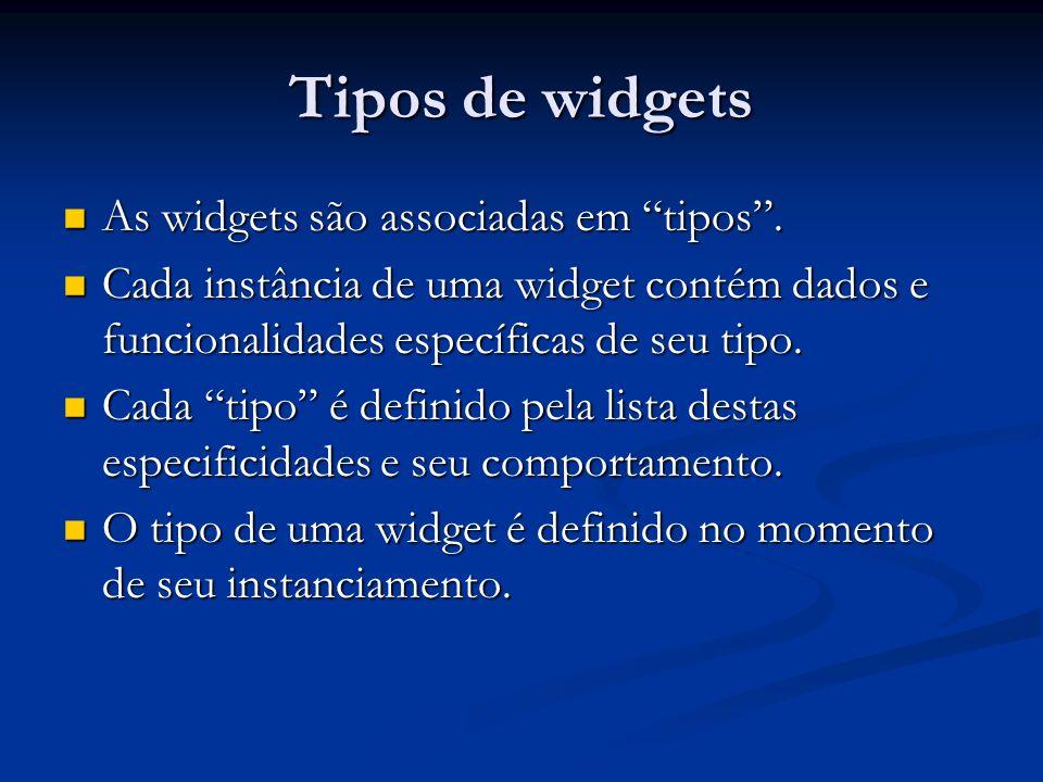 Tipos de widgets As widgets são associadas em tipos.