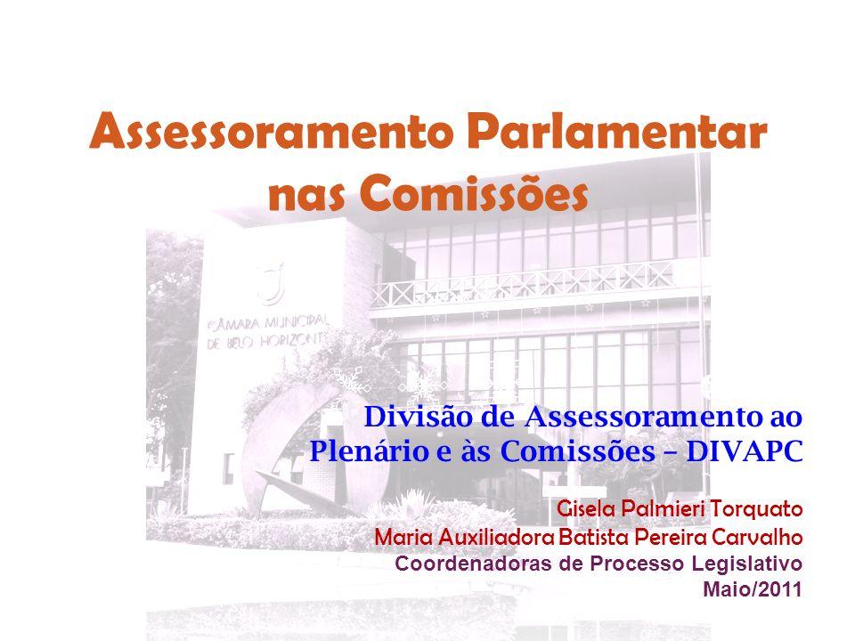 Assessoramento Parlamentar nas Comissões Divisão de Assessoramento ao Plenário e às Comissões – DIVAPC Gisela Palmieri Torquato Maria Auxiliadora Bati
