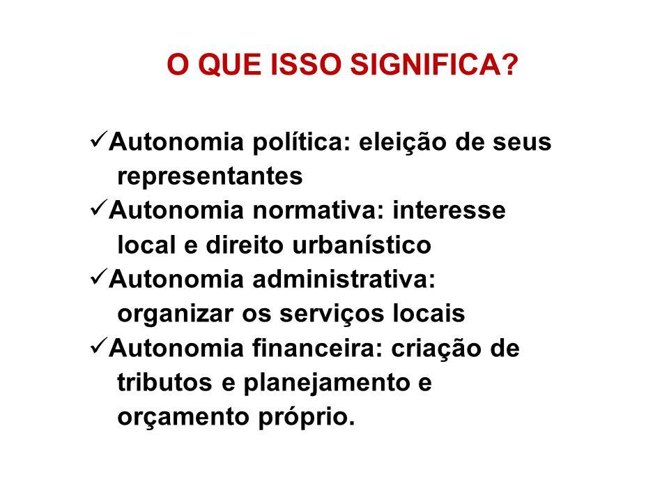 O QUE ISSO SIGNIFICA? Autonomia política: eleição de seus representantes Autonomia normativa: interesse local e direito urbanístico Autonomia administ