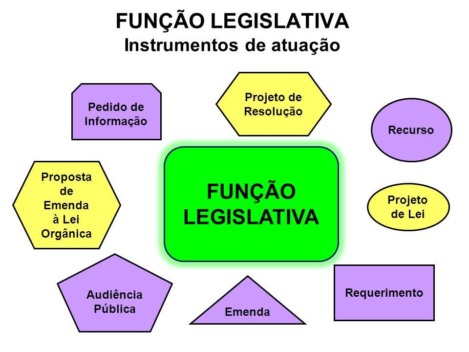 Projeto de Lei Recurso FUNÇÃO LEGISLATIVA Requerimento Emenda Proposta de Emenda à Lei Orgânica Projeto de Resolução Pedido de Informação Audiência Pú