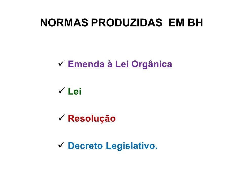 NORMAS PRODUZIDAS EM BH Emenda à Lei Orgânica Lei Resolução Decreto Legislativo.