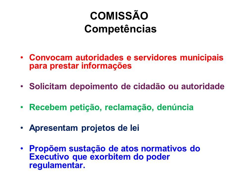 COMISSÃO Competências Convocam autoridades e servidores municipais para prestar informações Solicitam depoimento de cidadão ou autoridade Recebem peti