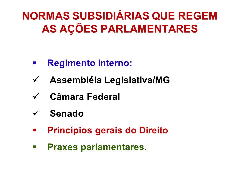 NORMAS SUBSIDIÁRIAS QUE REGEM AS AÇÕES PARLAMENTARES Regimento Interno: Assembléia Legislativa/MG Câmara Federal Senado Princípios gerais do Direito P