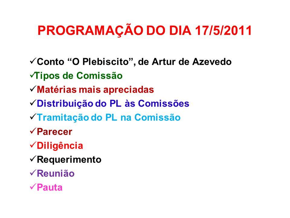 PROGRAMAÇÃO DO DIA 17/5/2011 Conto O Plebiscito, de Artur de Azevedo Tipos de Comissão Matérias mais apreciadas Distribuição do PL às Comissões Tramit