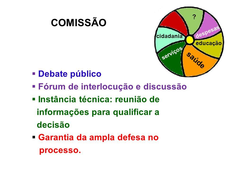 COMISSÃO Debate público Fórum de interlocução e discussão Instância técnica: reunião de informações para qualificar a decisão Garantia da ampla defesa