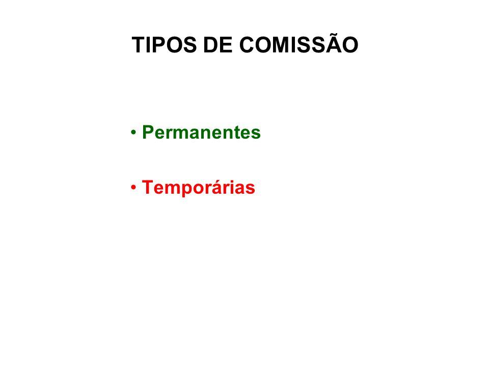 TIPOS DE COMISSÃO Permanentes Temporárias