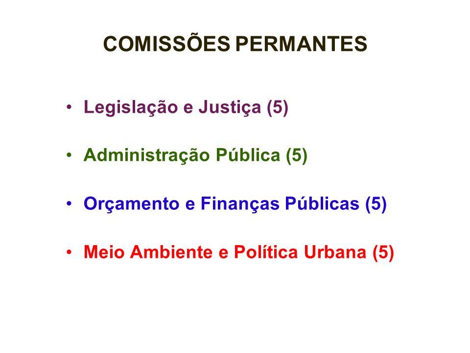 COMISSÕES PERMANTES Legislação e Justiça (5) Administração Pública (5) Orçamento e Finanças Públicas (5) Meio Ambiente e Política Urbana (5)