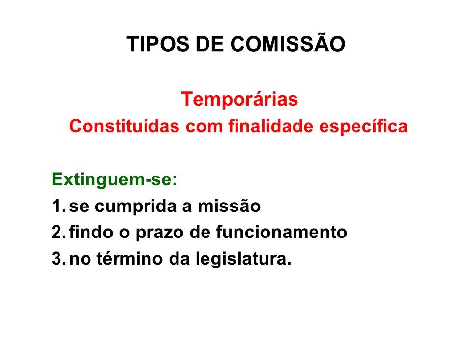 TIPOS DE COMISSÃO Temporárias Constituídas com finalidade específica Extinguem-se: 1.se cumprida a missão 2.findo o prazo de funcionamento 3.no términ