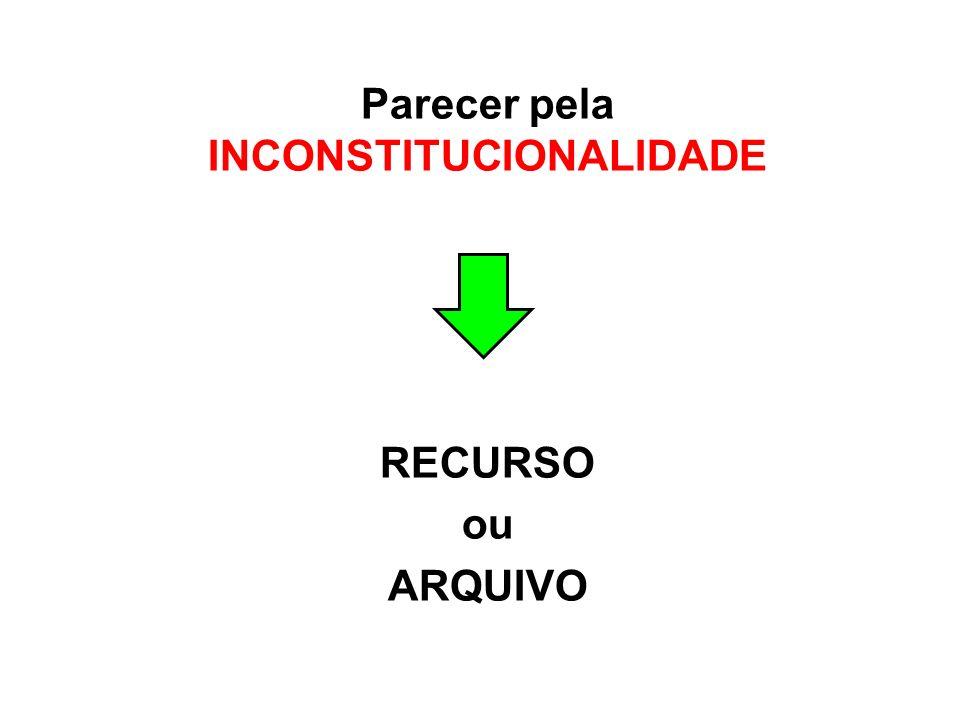 Parecer pela INCONSTITUCIONALIDADE RECURSO ou ARQUIVO