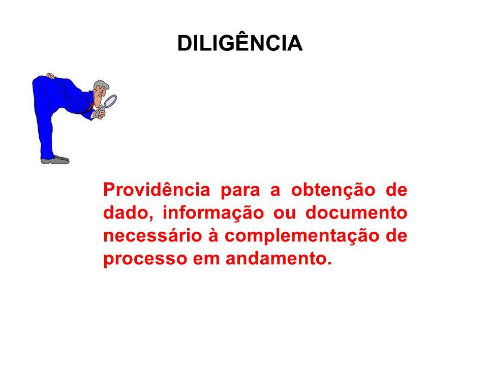 Providência para a obtenção de dado, informação ou documento necessário à complementação de processo em andamento. DILIGÊNCIA